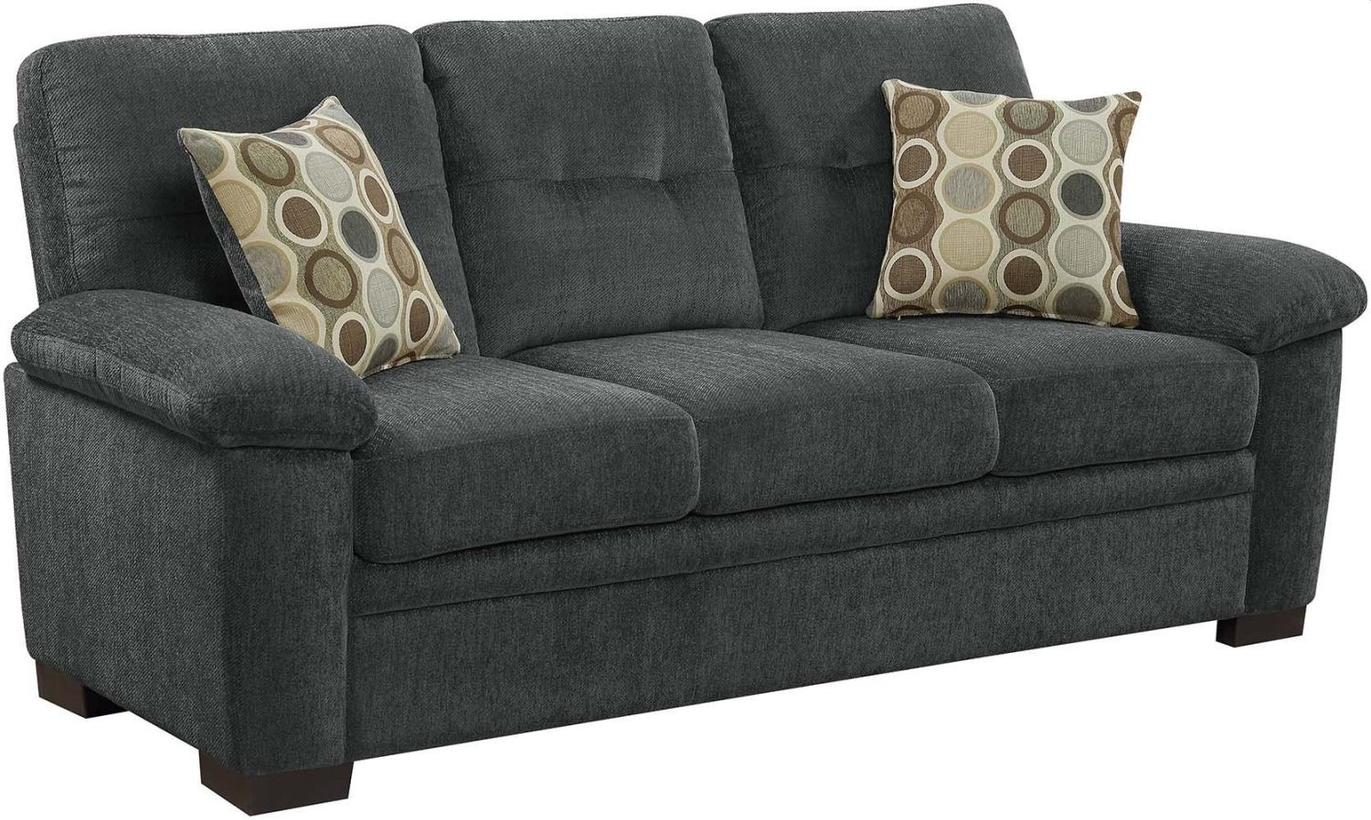 Casual Sofa in Charcoal Chenille Fabric