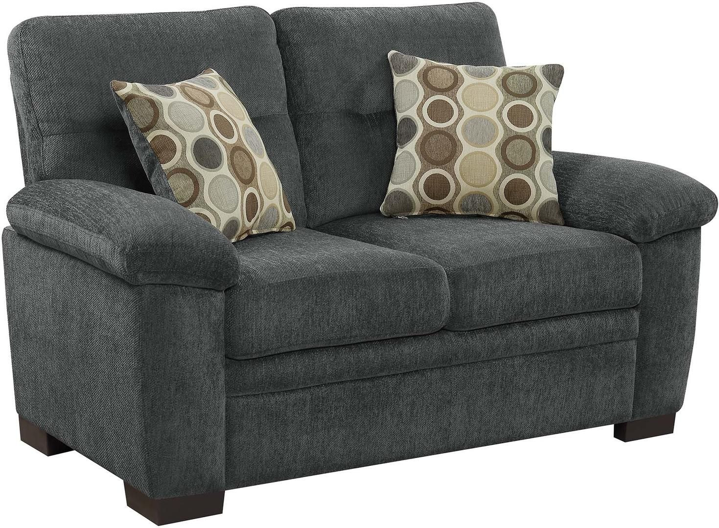 Casual Loveseat in Charcoal Chenille Fabric