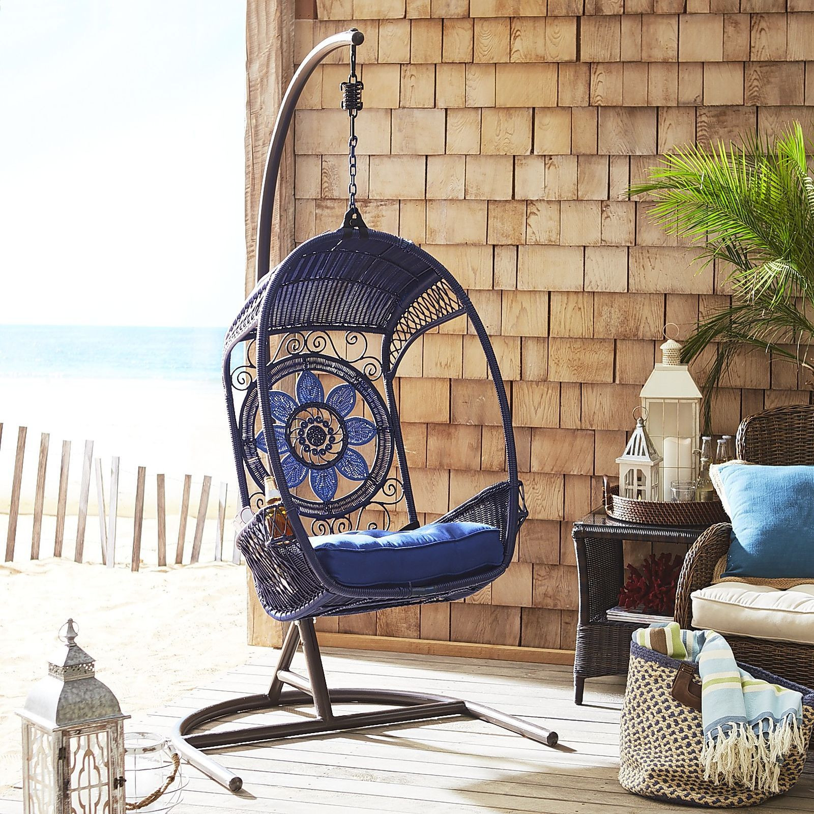 Pier 1 Blue Medallion Swingasan Hanging Chair w/ Stand