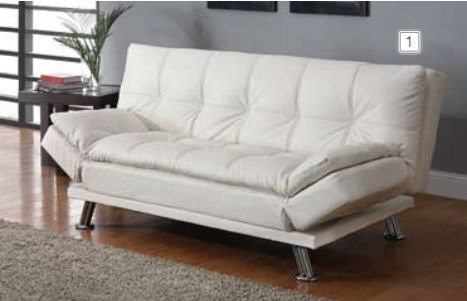Mercury Row White Faux Leather Futon/Sleeper Sofa - AptDeco