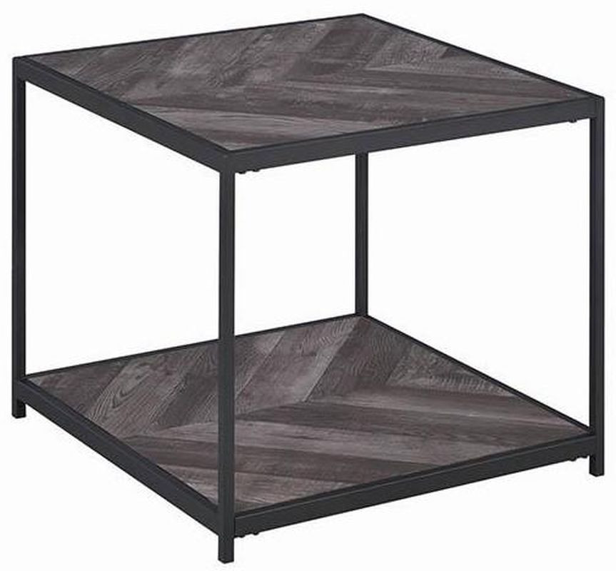 Sleek Double-Shelf End Table w/ Metal Frame