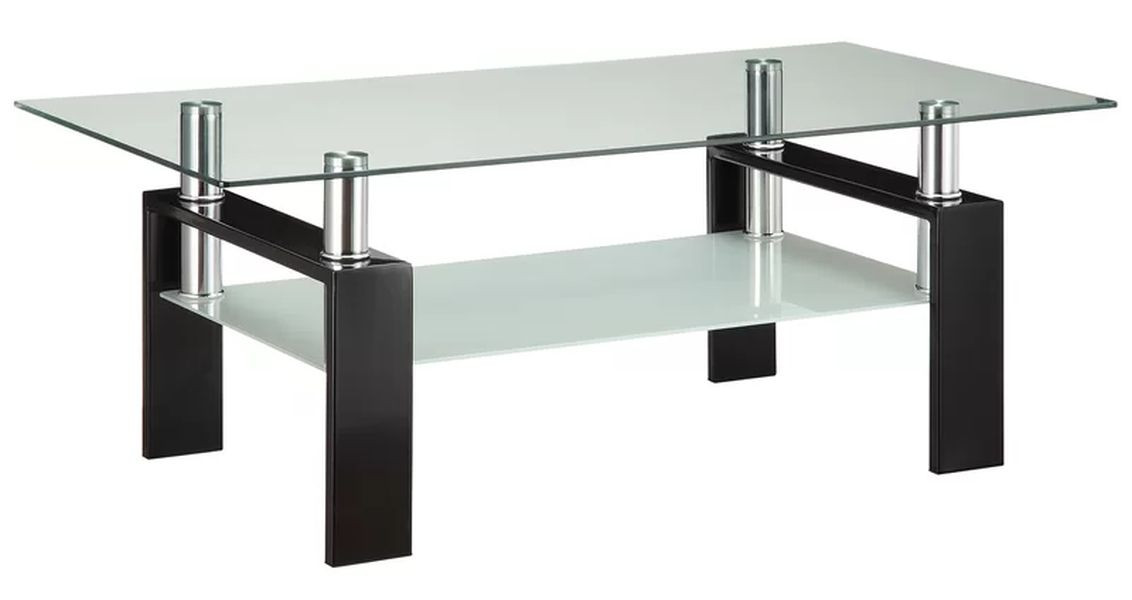 Modern Double-Shelf Coffee Table w/ Metal Frame