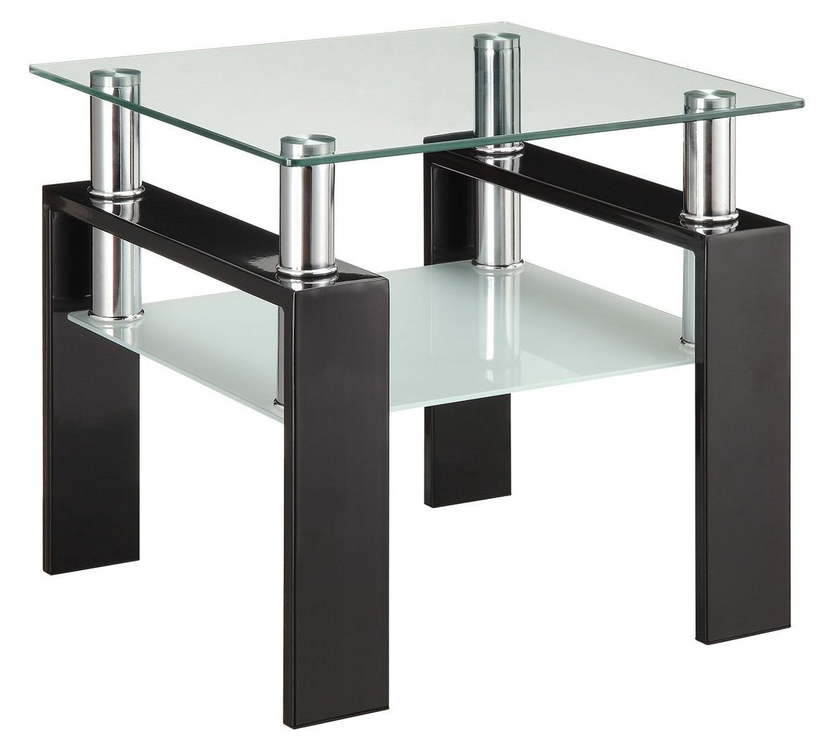 Modern Double-Shelf End Table w/ Metal Frame