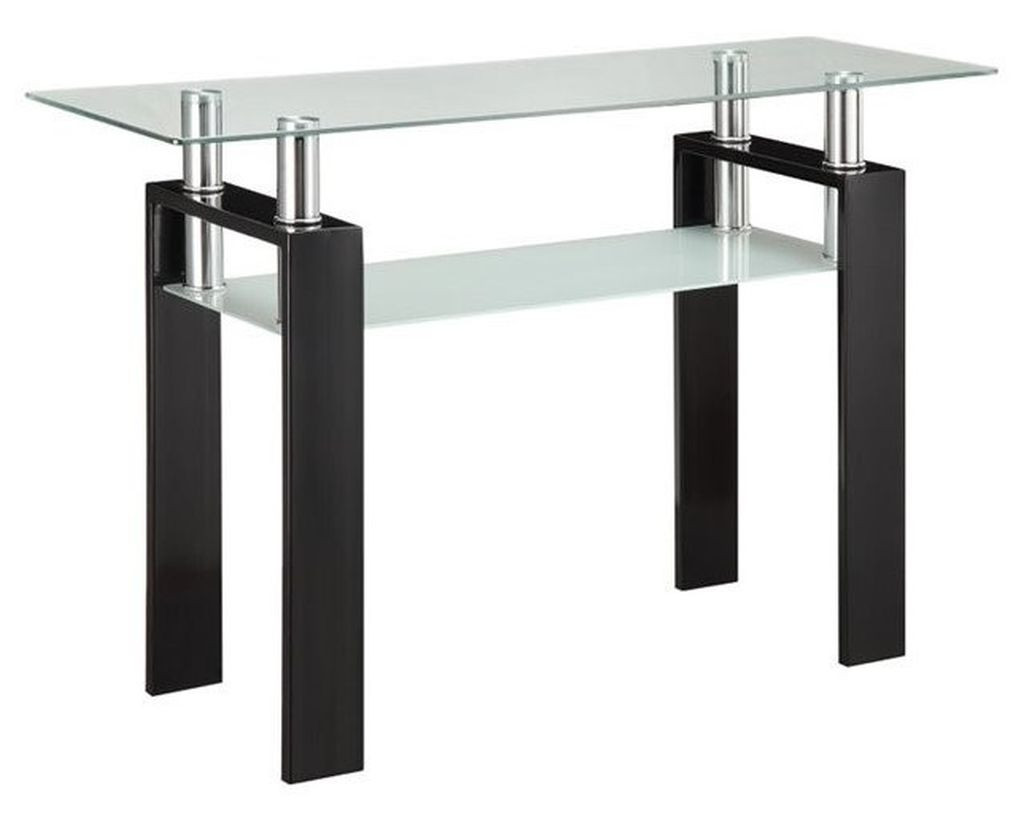Modern Double-Shelf Sofa Table w/ Metal Frame