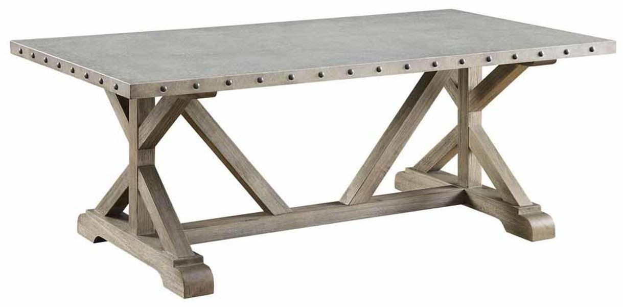 Industrial Style Coffee Table w/ Galvanized Metal Top