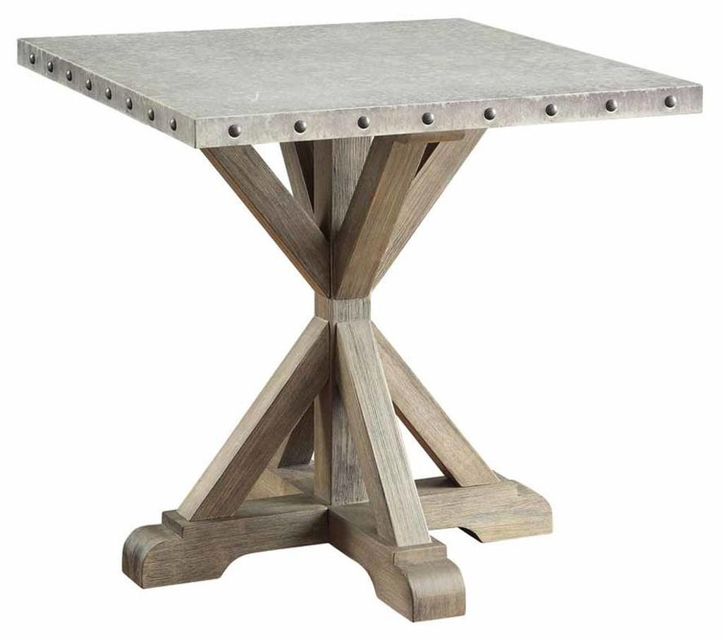 Industrial Style End Table w/ Galvanized Metal Top