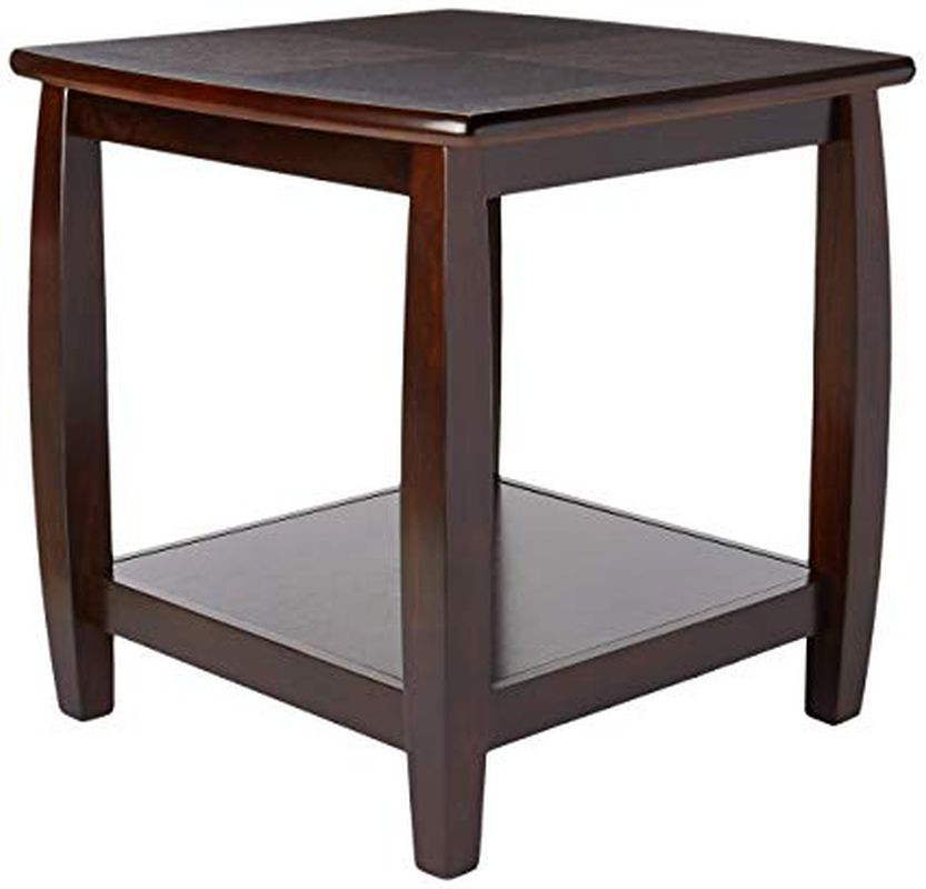 Classic Style Double-Shelf End Table in Espresso Finish