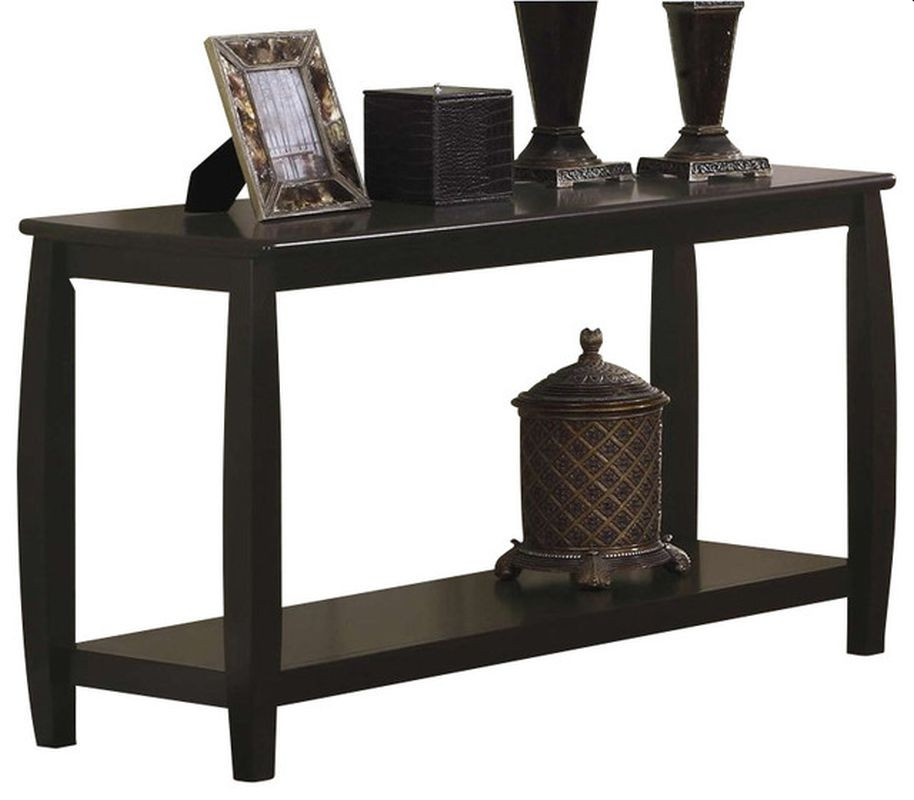 Classic Style Double-Shelf Sofa Table in Espresso Finish