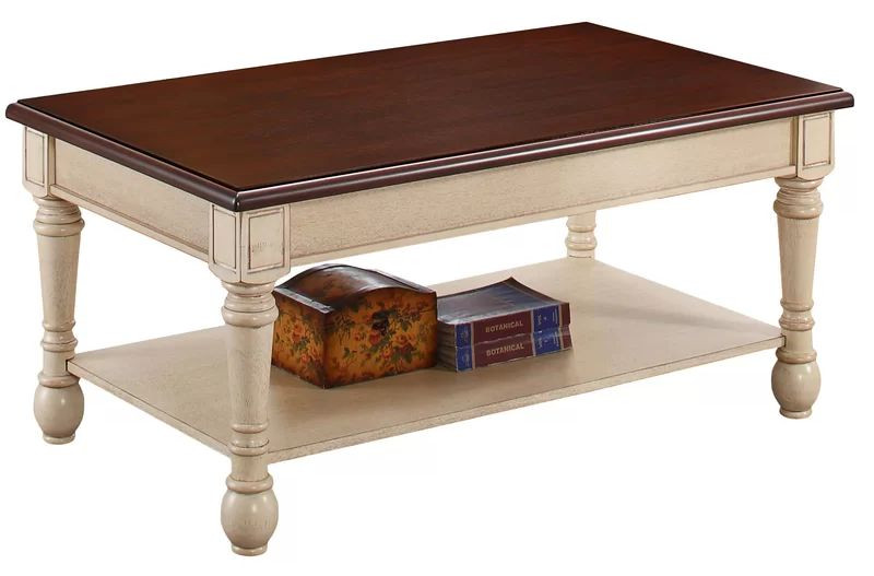 Coffee Table in 2-Tone Walnut Top & Antique White Base