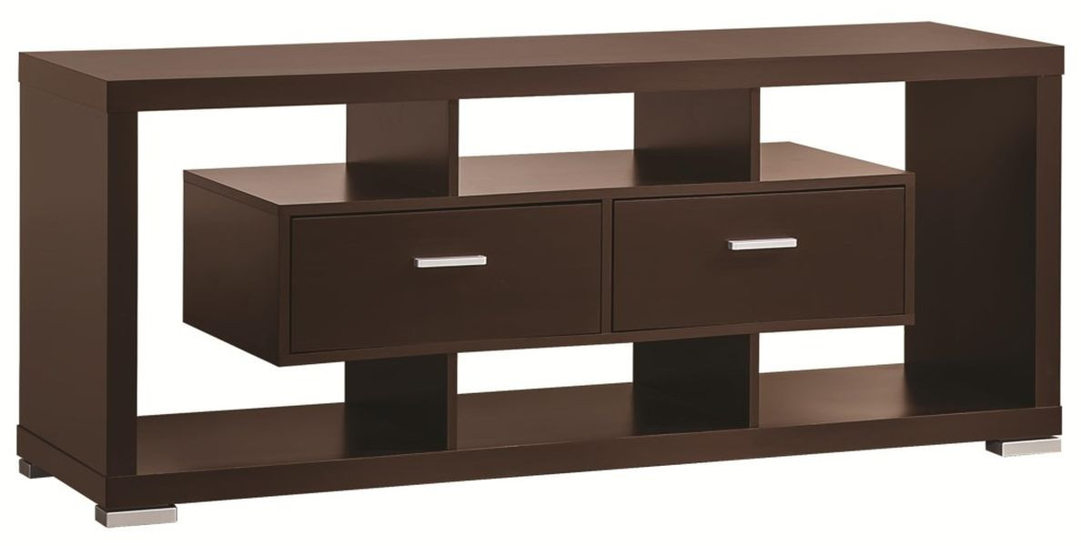 Modern Cappuccino TV Stand w/ Open Shelves & 2 Drawers