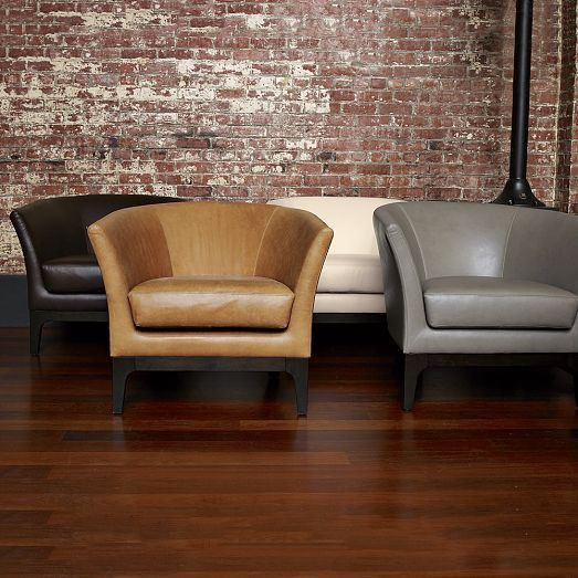 West Elm Leather Tulip Chair