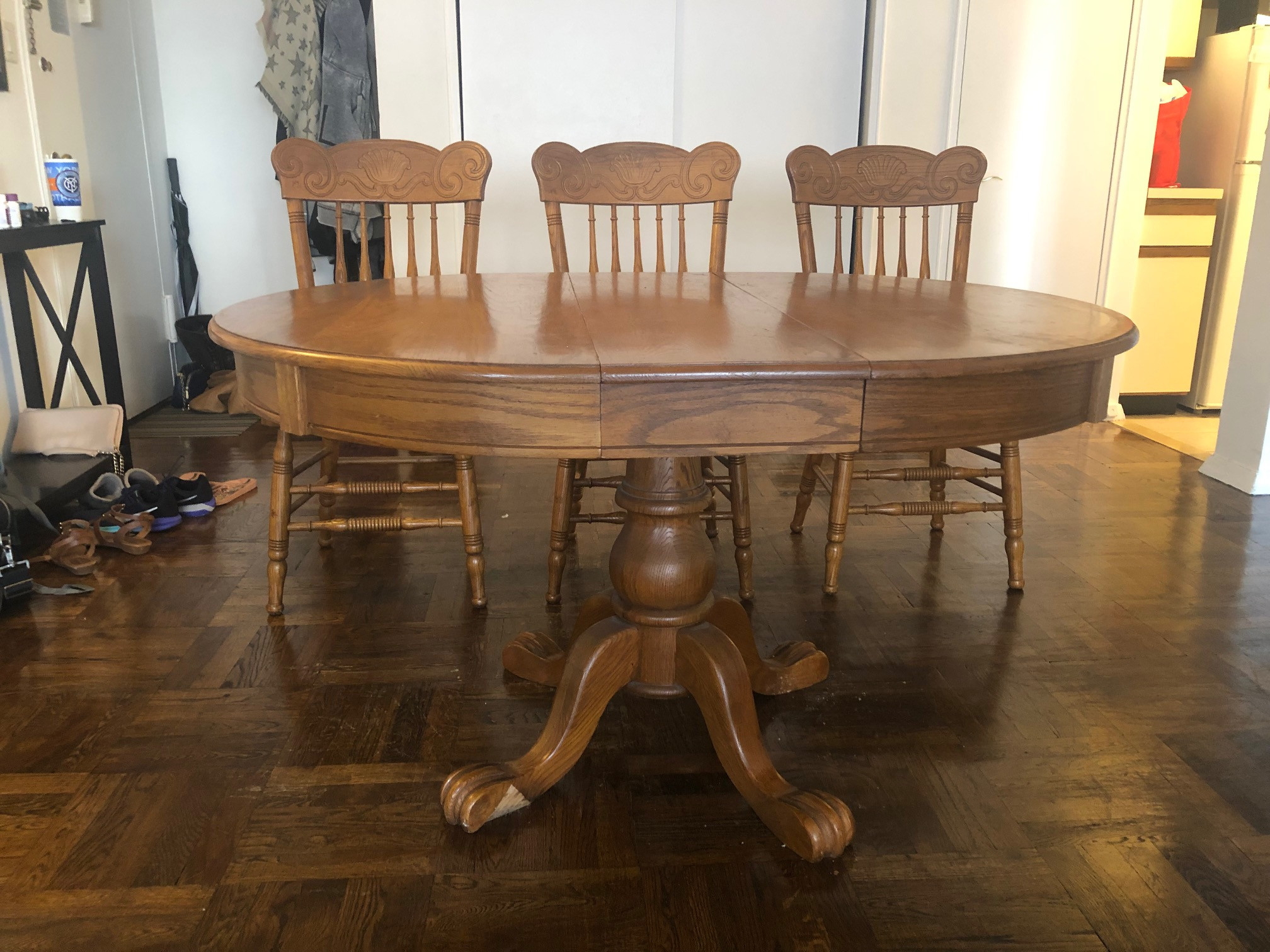 Wood Dining Table w/ Extension Leaf & 3 Chairs