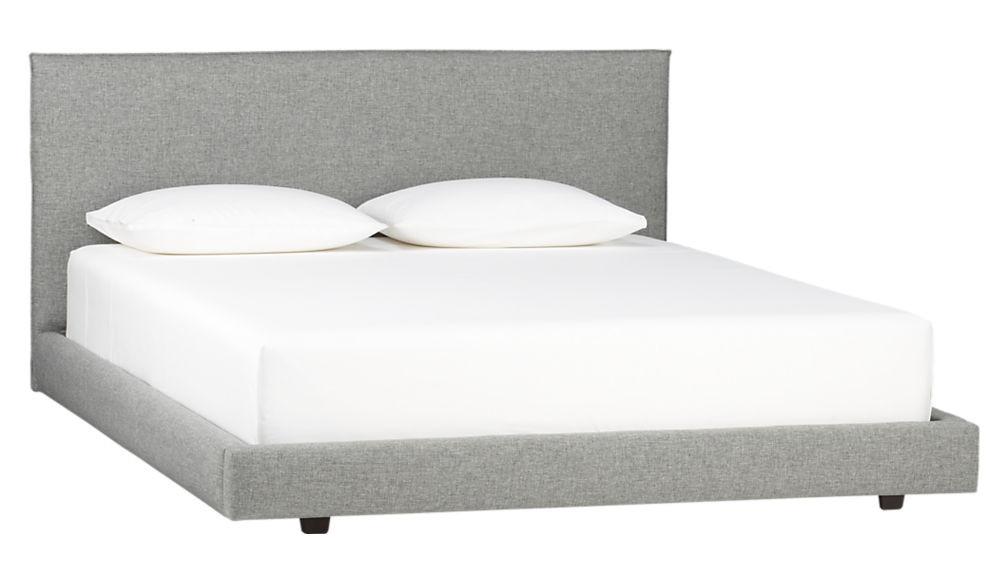 CB2 Facade Grey Upholstered Queen Bed