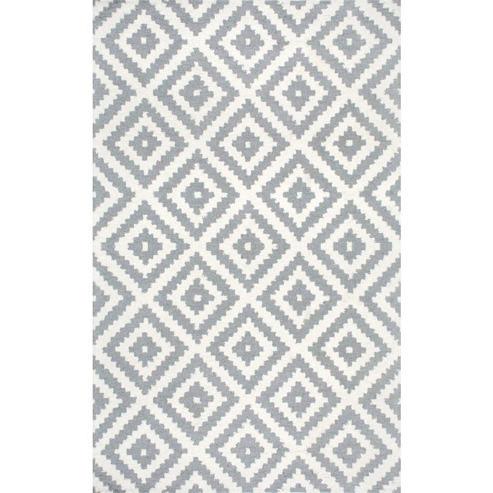 nuLOOM Gray & White Diamond Wool Rug