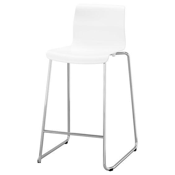 Ikea Glenn White Chrome Plated Bar Stools