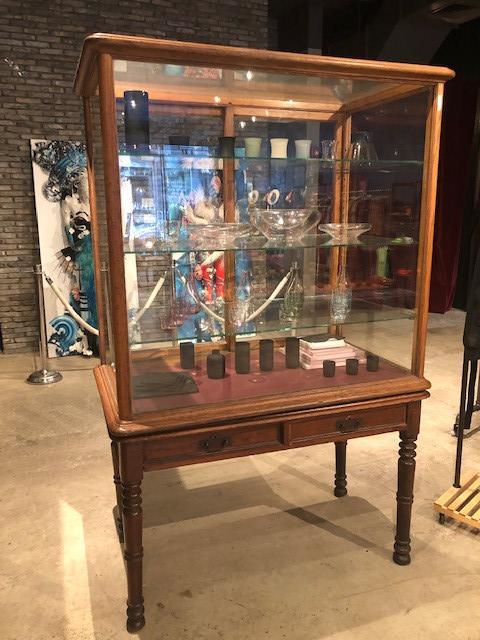 Vintage Curio Cabinet w/ Glass Doors
