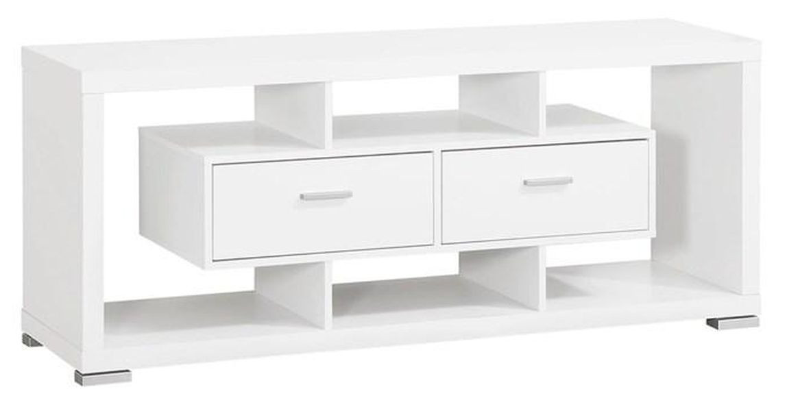 Modern White TV Stand w/ Open Shelves & 2 Drawers