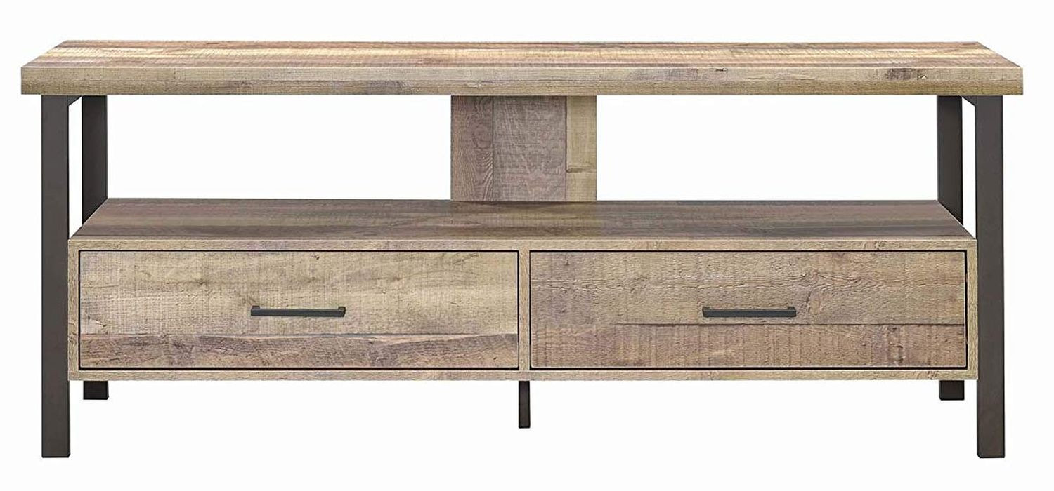 TV Stand in Weathered Pine w/ 2 Drawers & Shelf