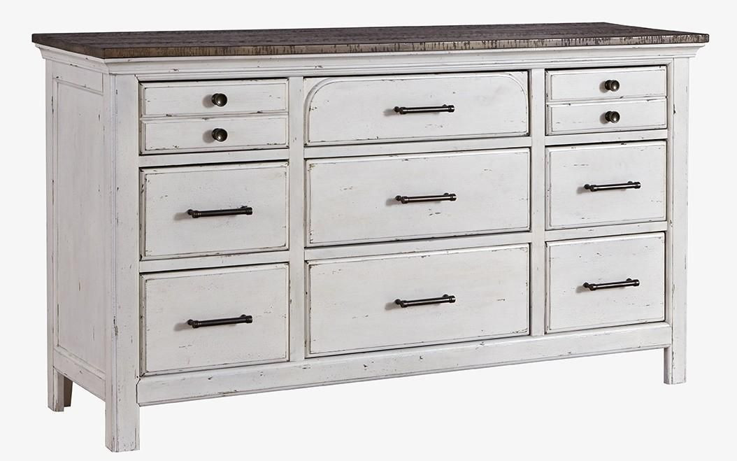 Cottage Style Rustic Dresser in Vintage White w/ Latte Top