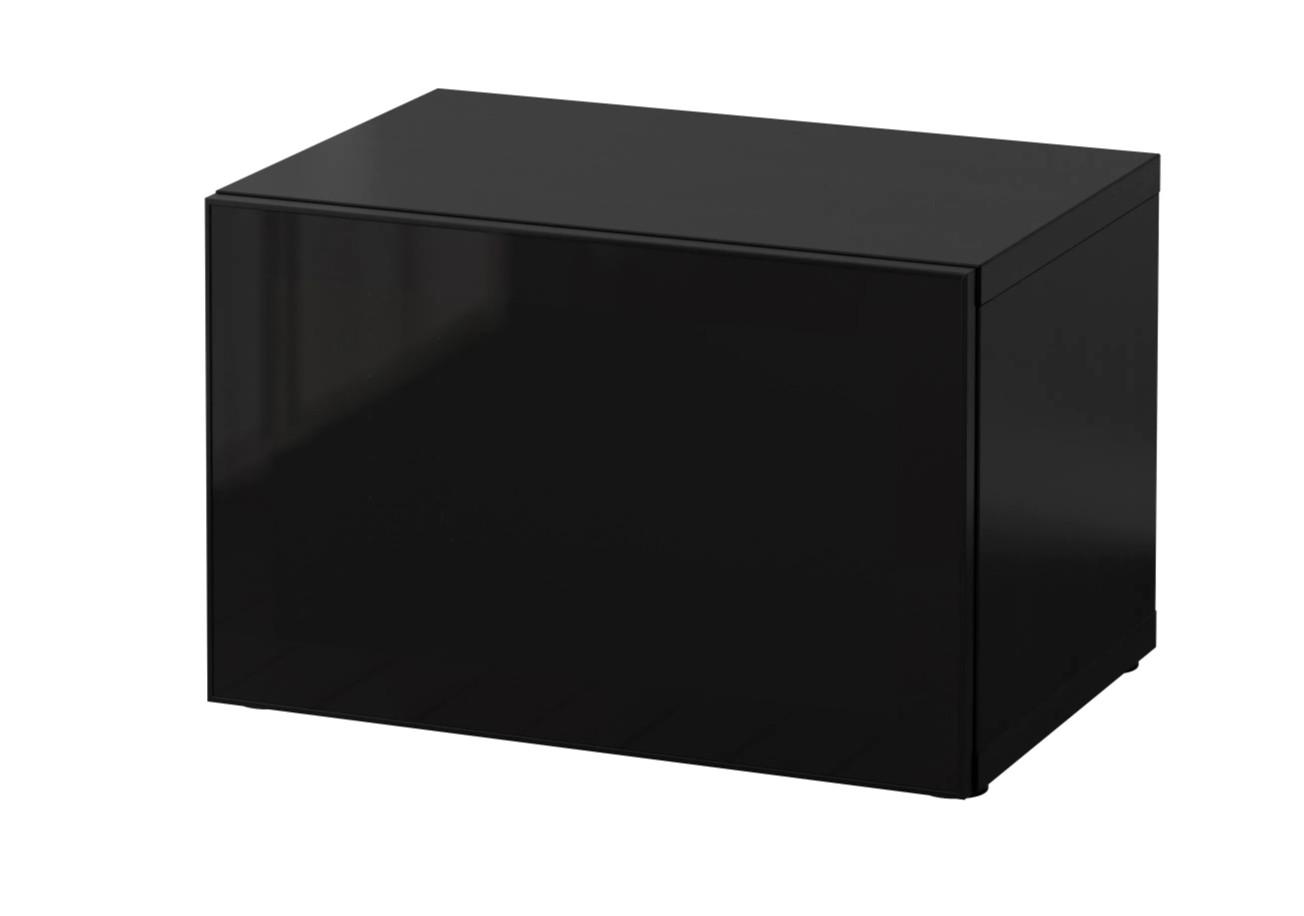 Ikea Shelf Unit w/ Smoked Black Glass Door