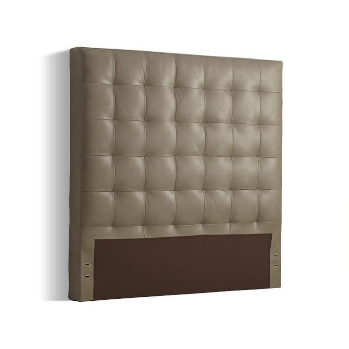 West Elm Leather Grid-Tufted King Size Grey Headboard