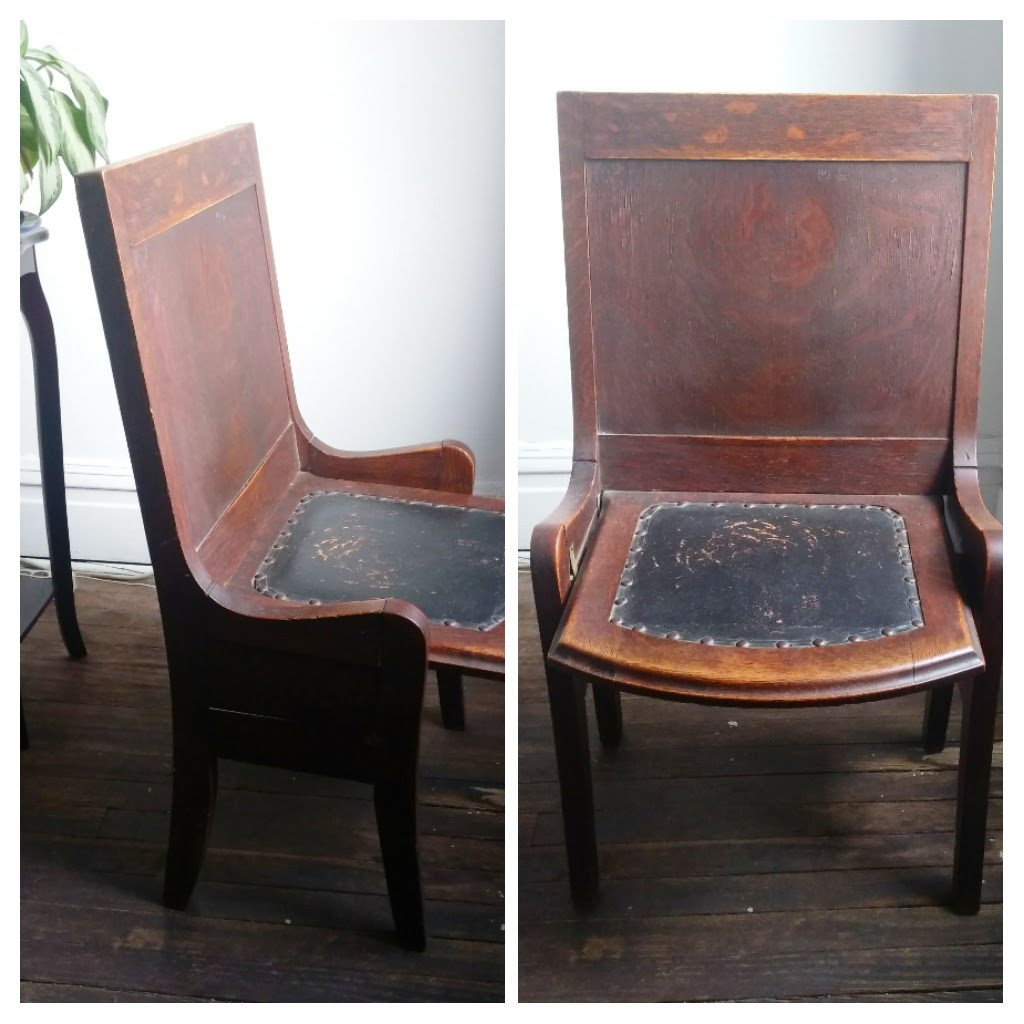 Vintage Wooden Chairs w/ Leather Seats & Studded Details