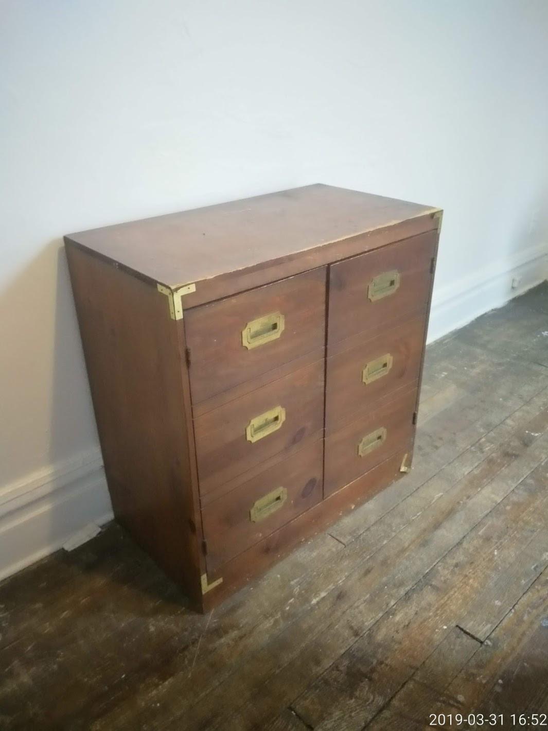 Vintage Wooden Credenza w/ Brass Details