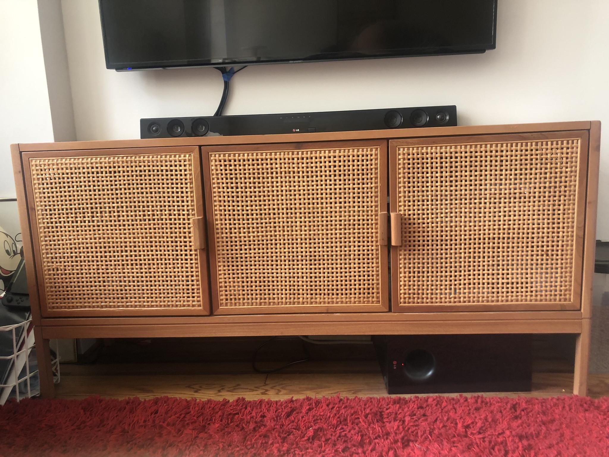 Cane TV Stand w/ Interior Shelving