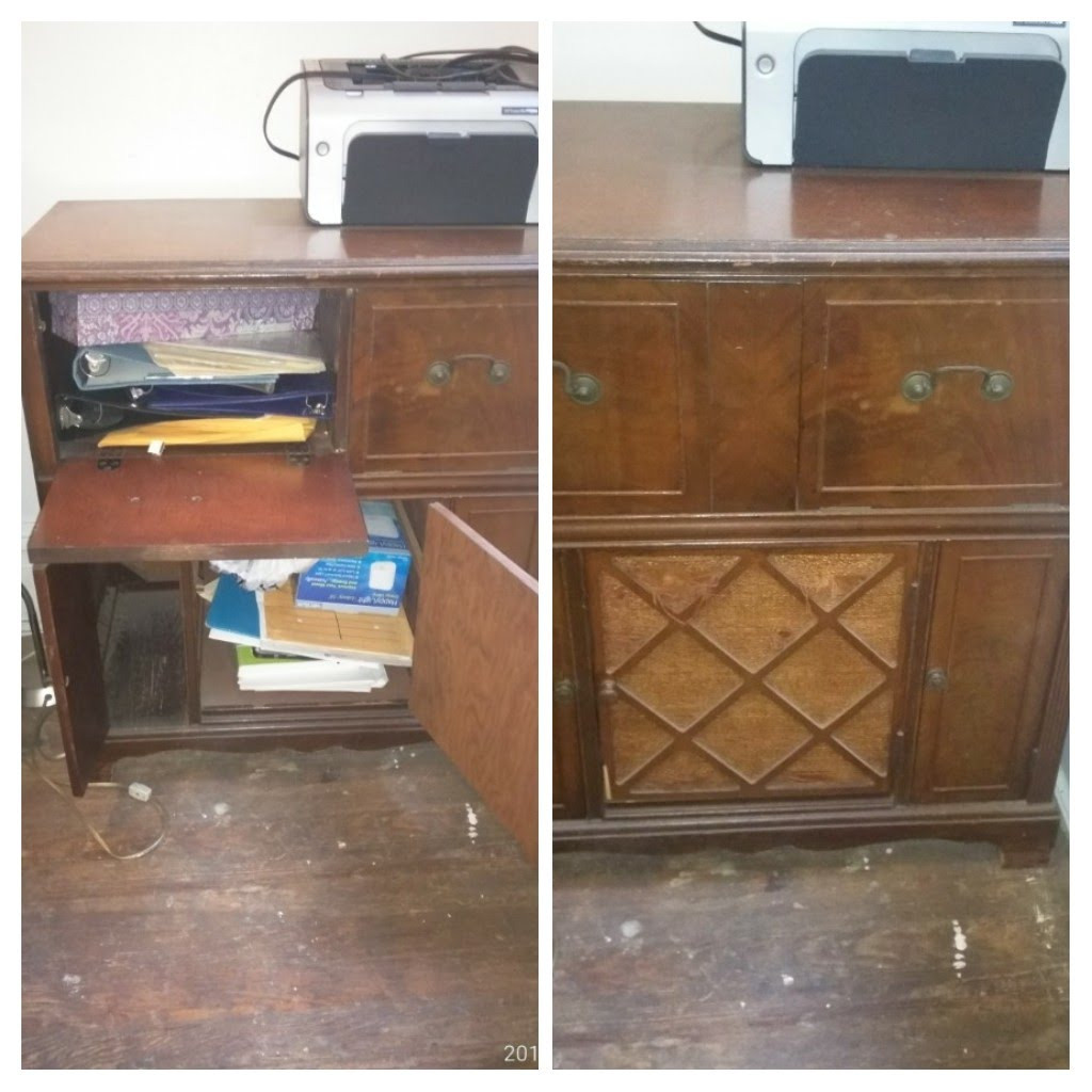 Vintage Wooden Cabinet w/ Lattice Details