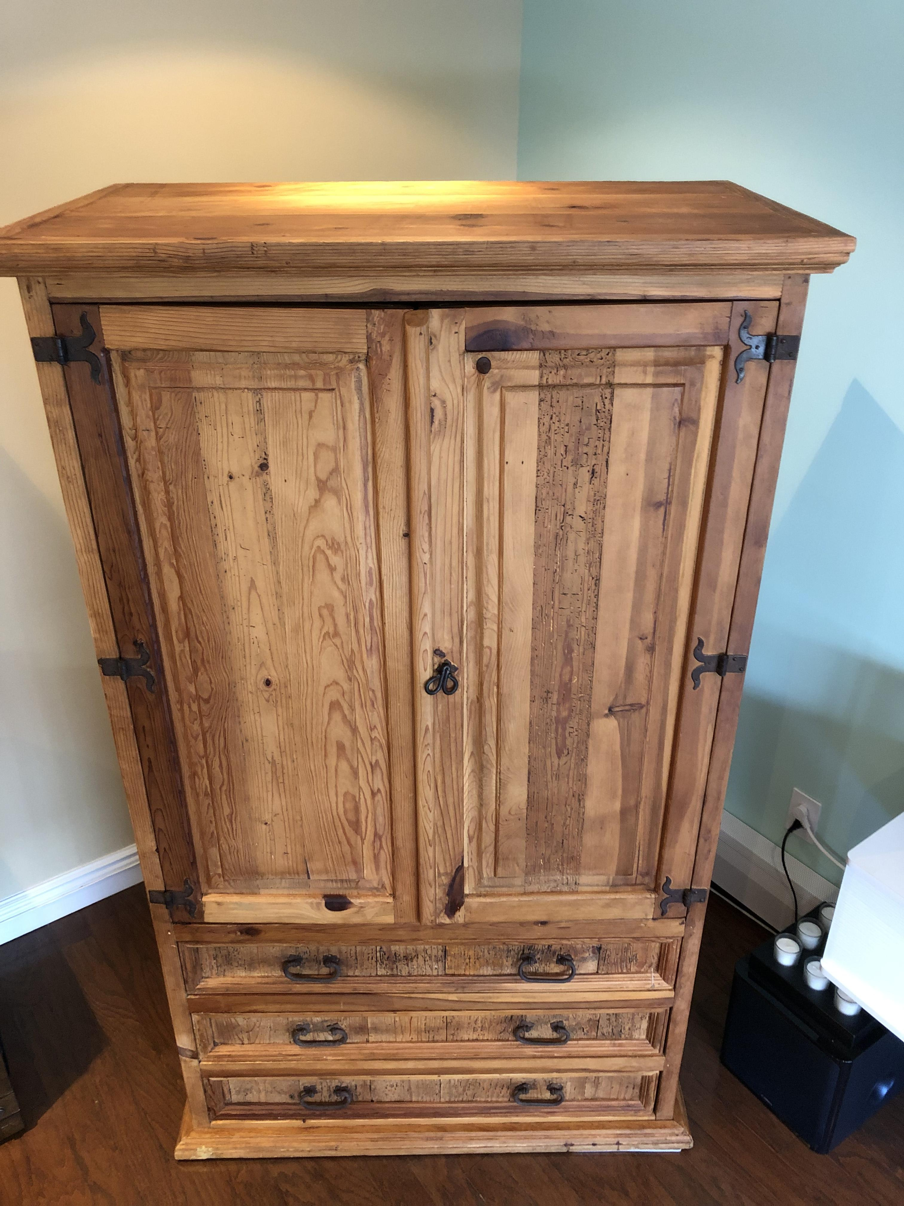 Country Rustic Wood Armoire w/ Rustic Hardware