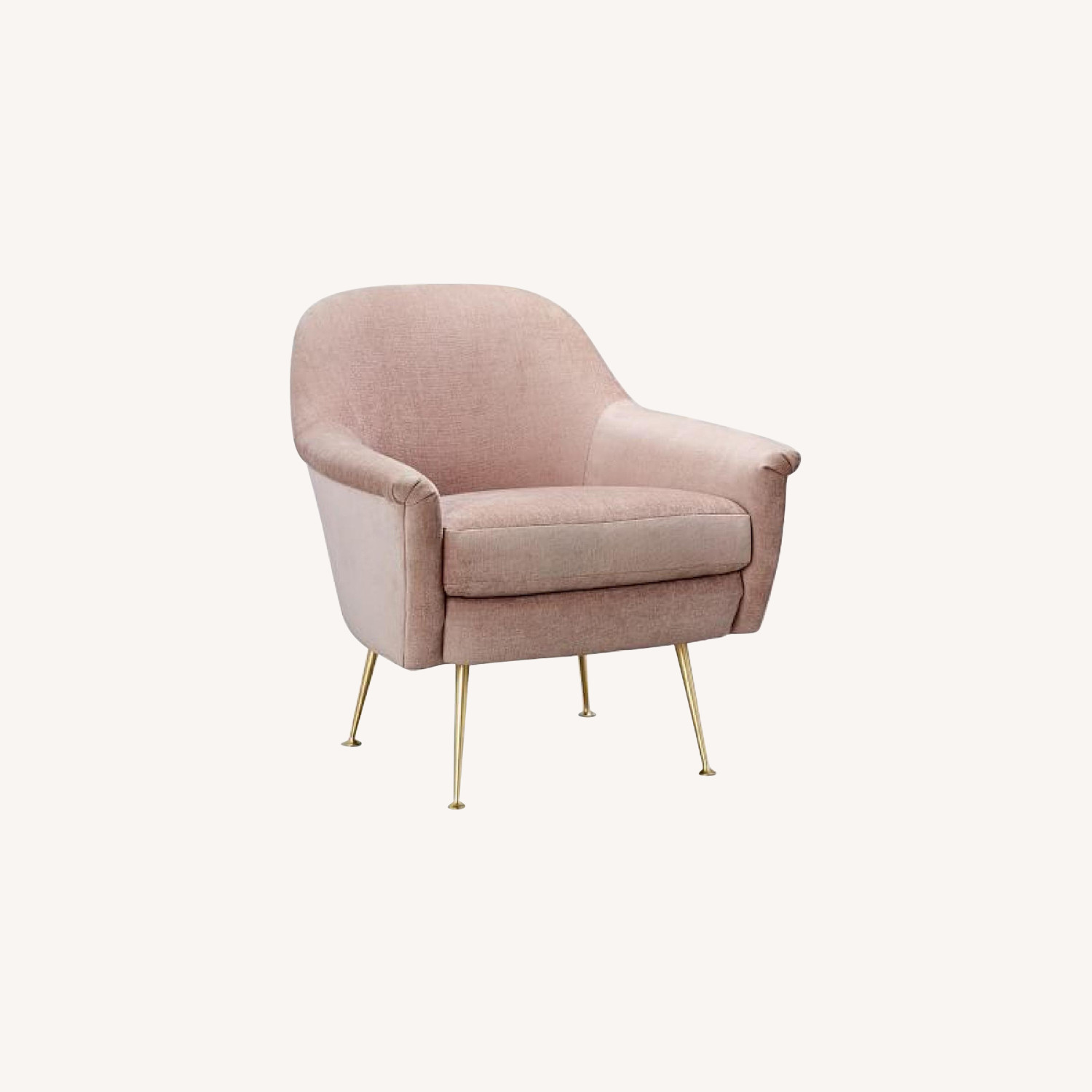 West Elm Phoebe Chair in Light Pink Distressed Velvet