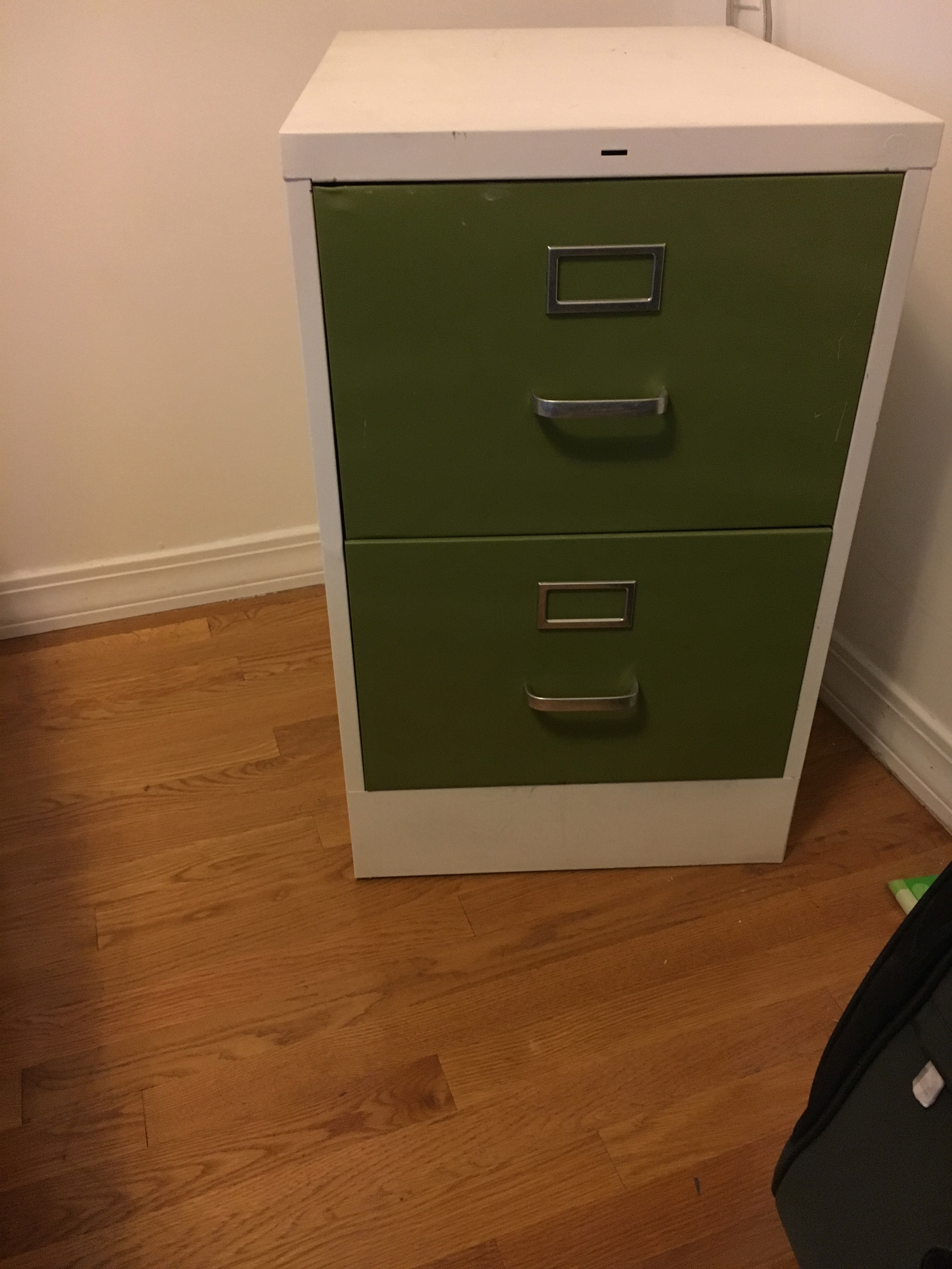 White & Green File Cabinet