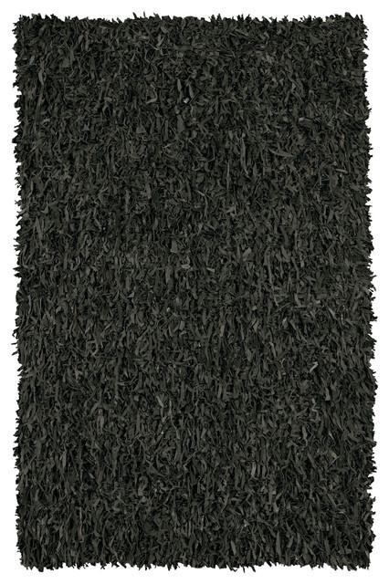 Black Leather & Suede Shag Area Rug