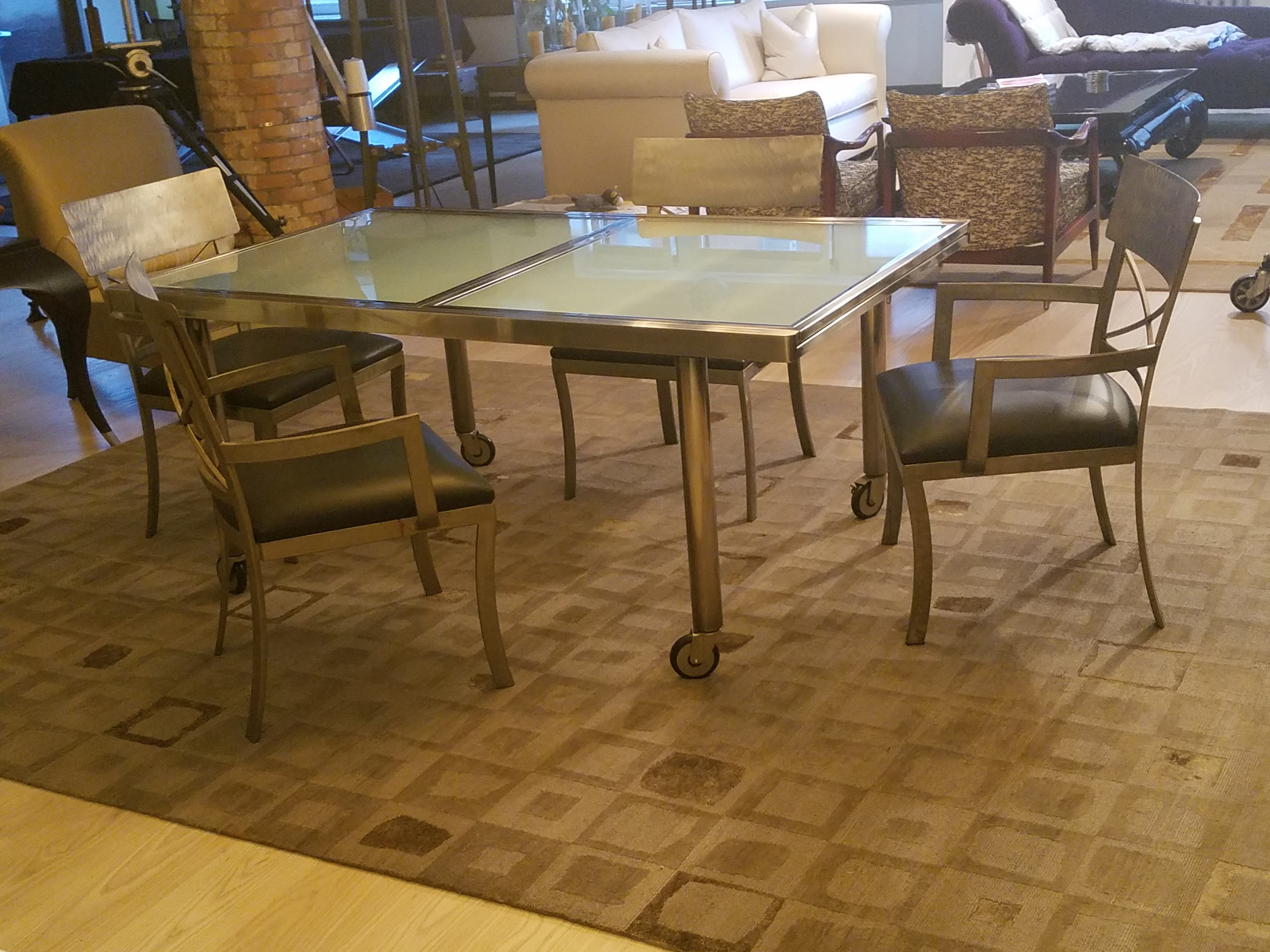 ABC Carpet and Home Metal & Glass Dining Table w/ 4 Chairs