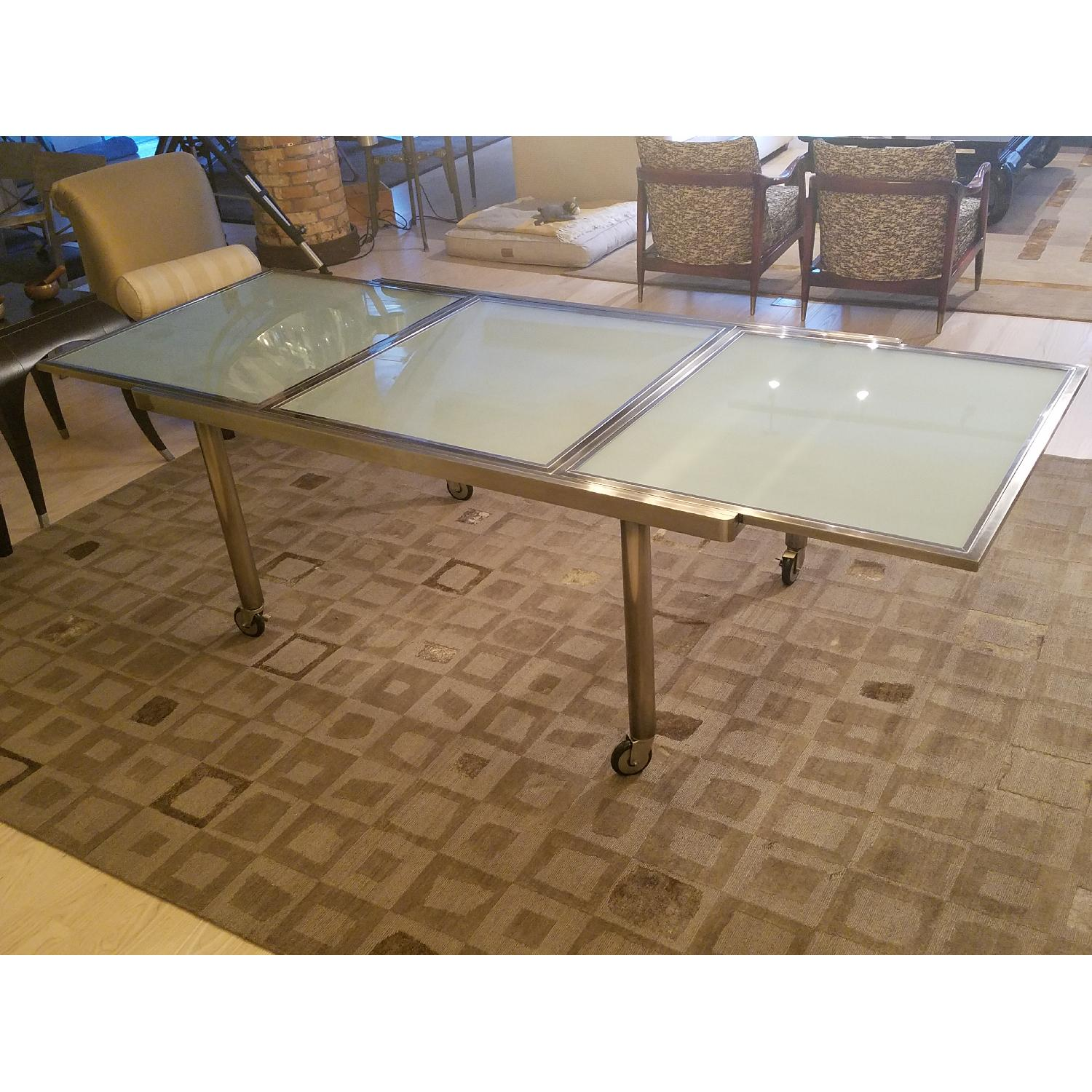 Abc Carpet And Home Metal Glass Dining Table W 4 Chairs