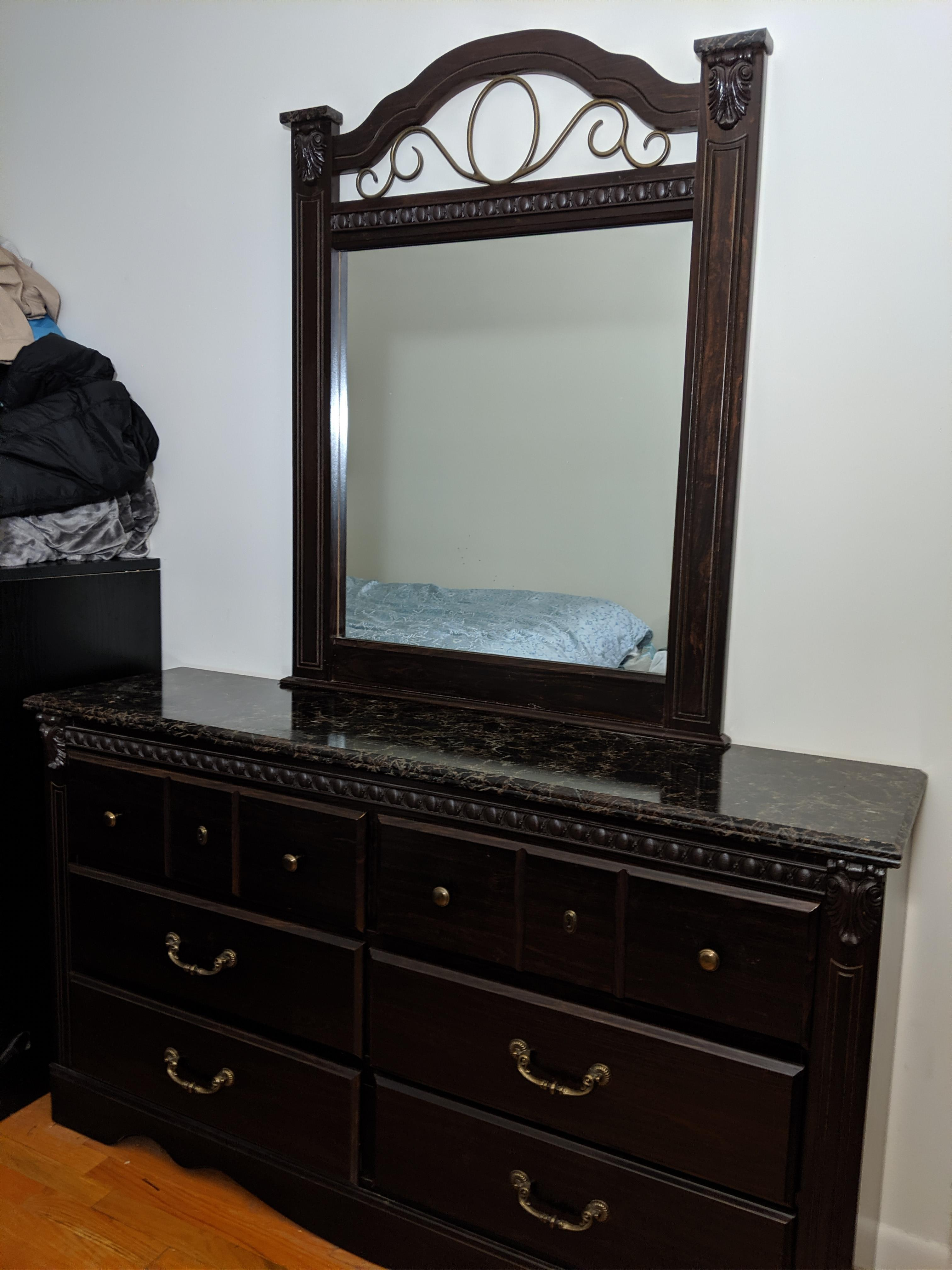 Bob's Marble Top 6 Drawer Wooden Dresser w/ Mirror