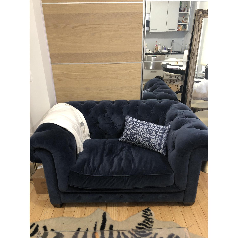 Restoration Hardware Kensington Navy Velvet Tufted Chair - image-1