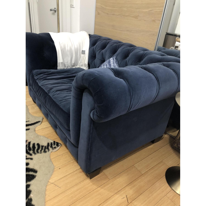 Restoration Hardware Kensington Navy Velvet Tufted Chair - image-2