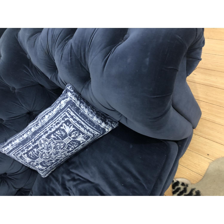 Restoration Hardware Kensington Navy Velvet Tufted Chair - image-3