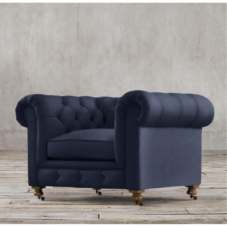 Restoration Hardware Kensington Navy Velvet Tufted Chair - image-4