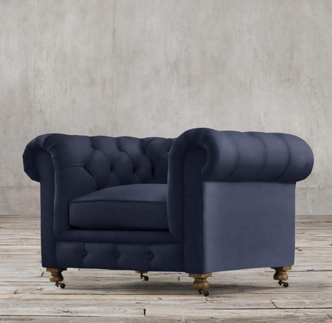 Restoration Hardware Kensington Navy Velvet Tufted Chair