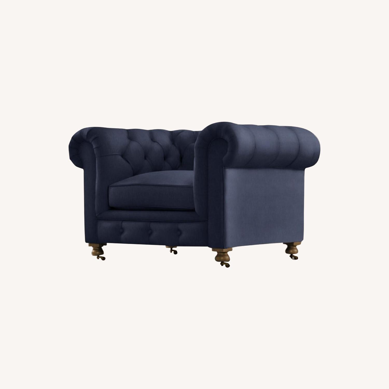 Restoration Hardware Kensington Navy Velvet Tufted Chair - image-0