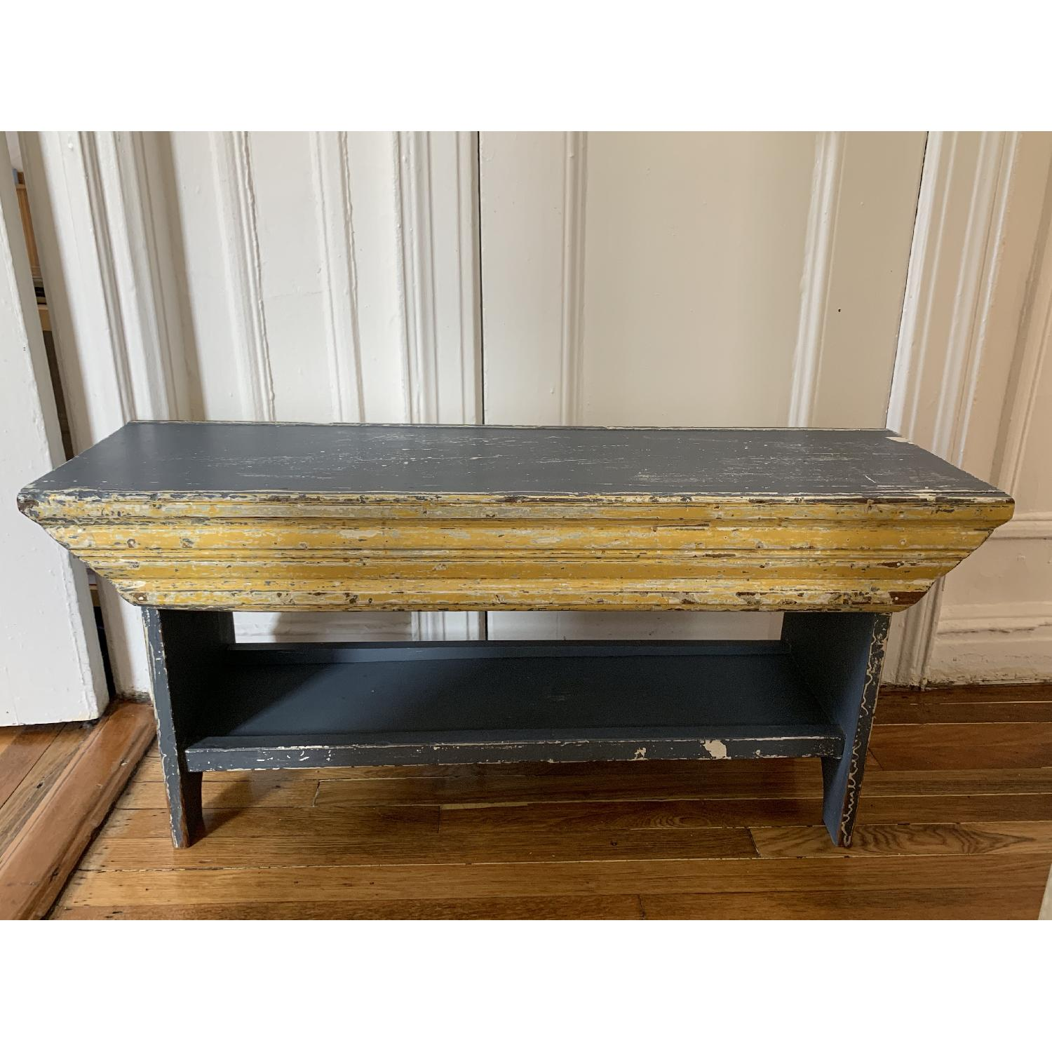 Boho Chic Antiqued Wood Trestle Coffee Table/Bench