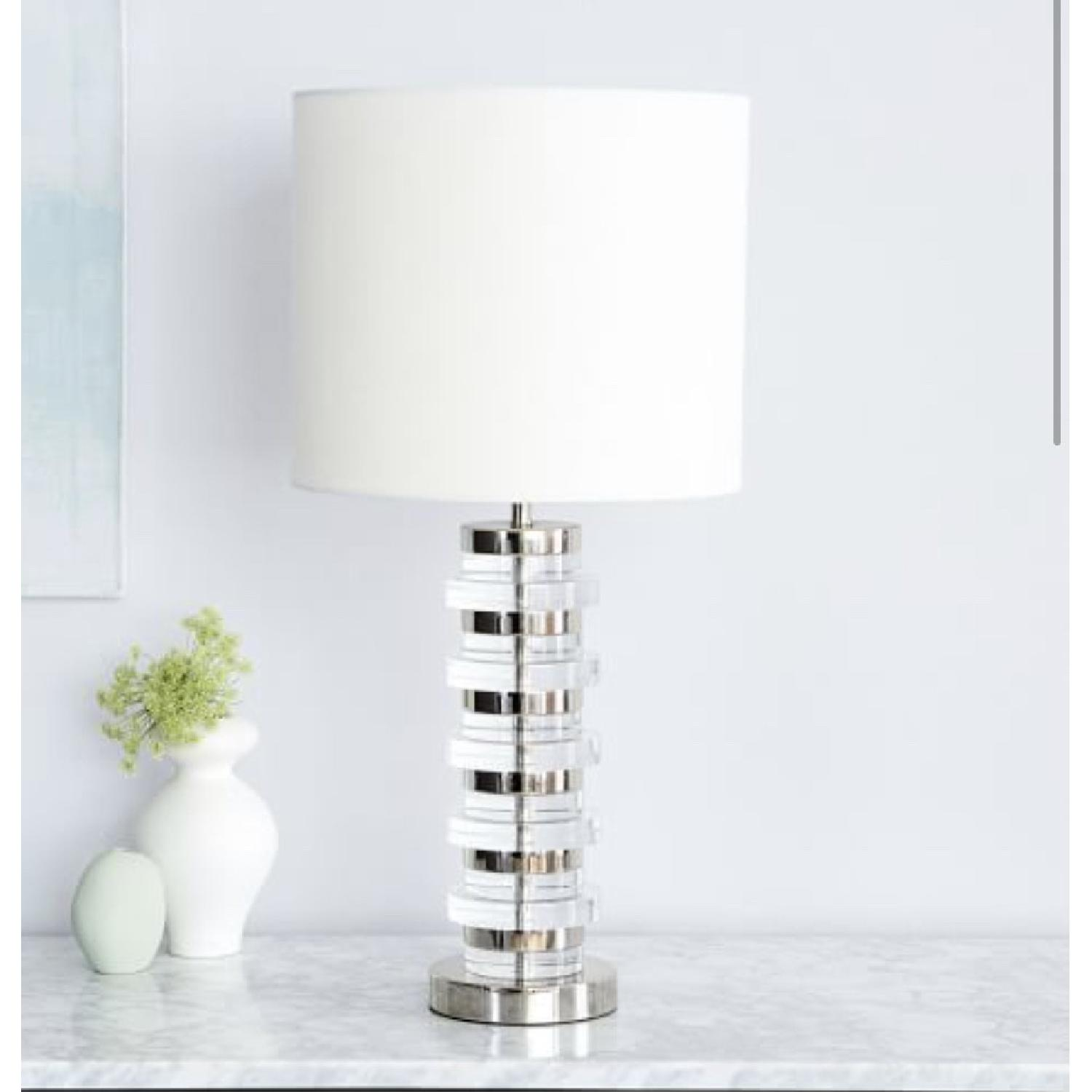 West Elm Clear Disk Table Lamp in Polish Nickel w/ USB - image-1