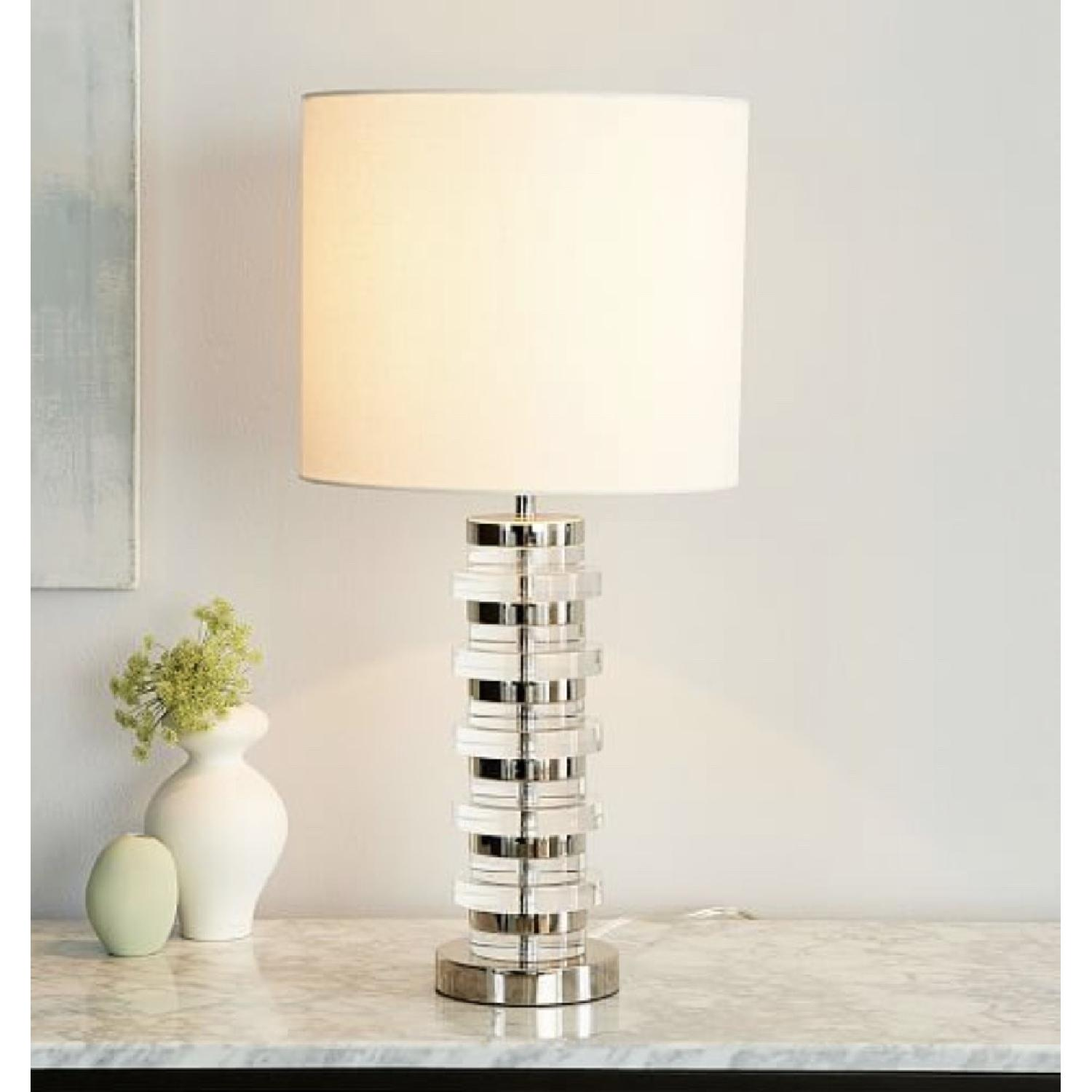West Elm Clear Disk Table Lamp in Polish Nickel w/ USB - image-3