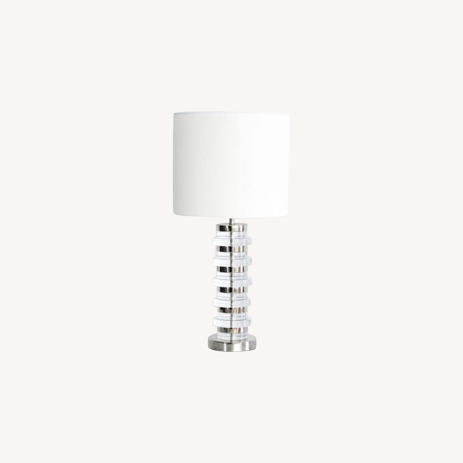 West Elm Clear Disk Table Lamp in Polish Nickel w/ USB - image-0