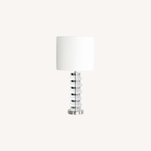 Used West Elm Clear Disk Table Lamp in Polish Nickel w/ USB for sale on AptDeco