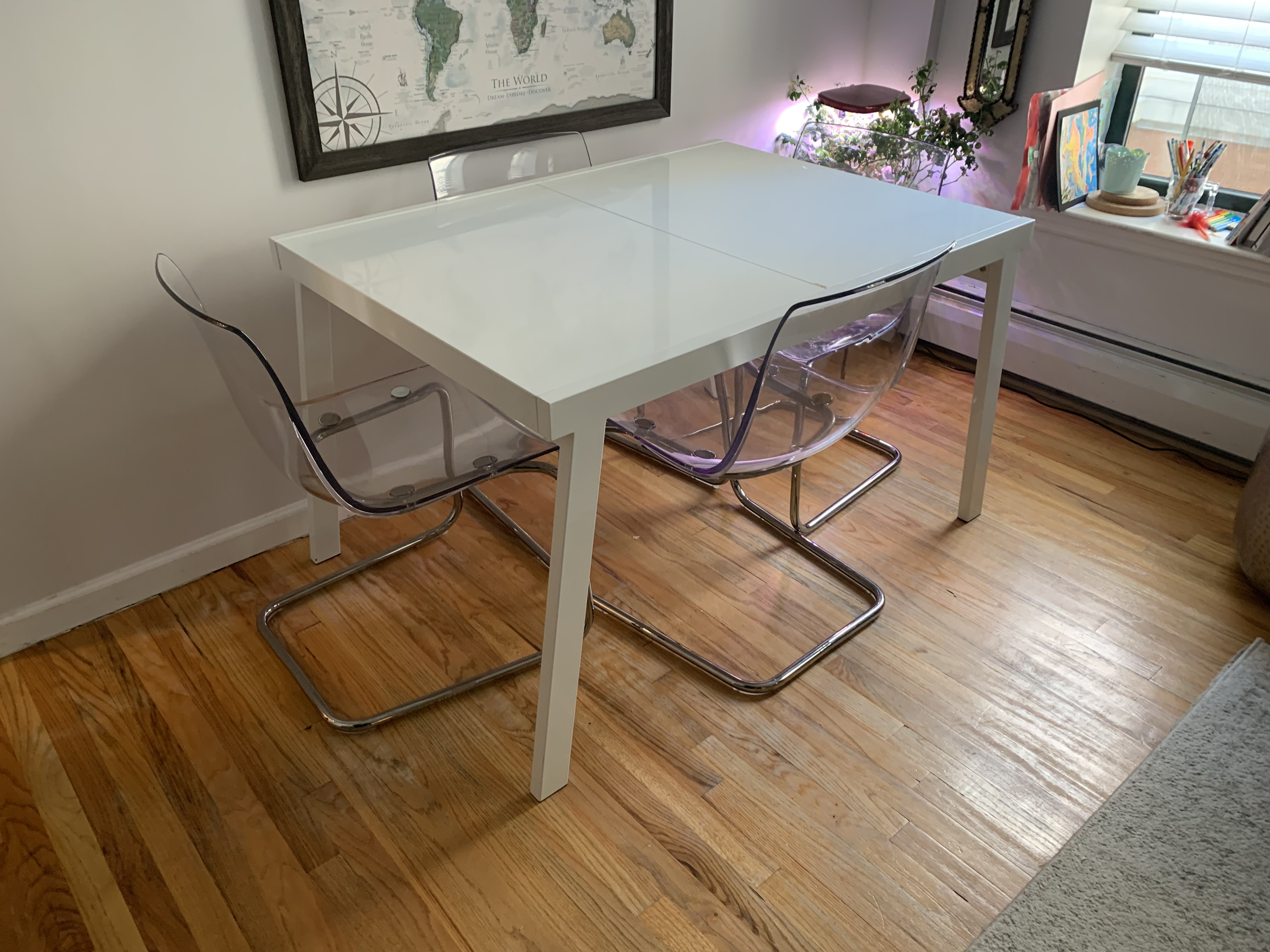 CB2 White Lacquer Extension Dining Table w/ Built in Leaf