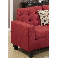 Red Fabric 4 Piece Sectional Sofa & Ottoman