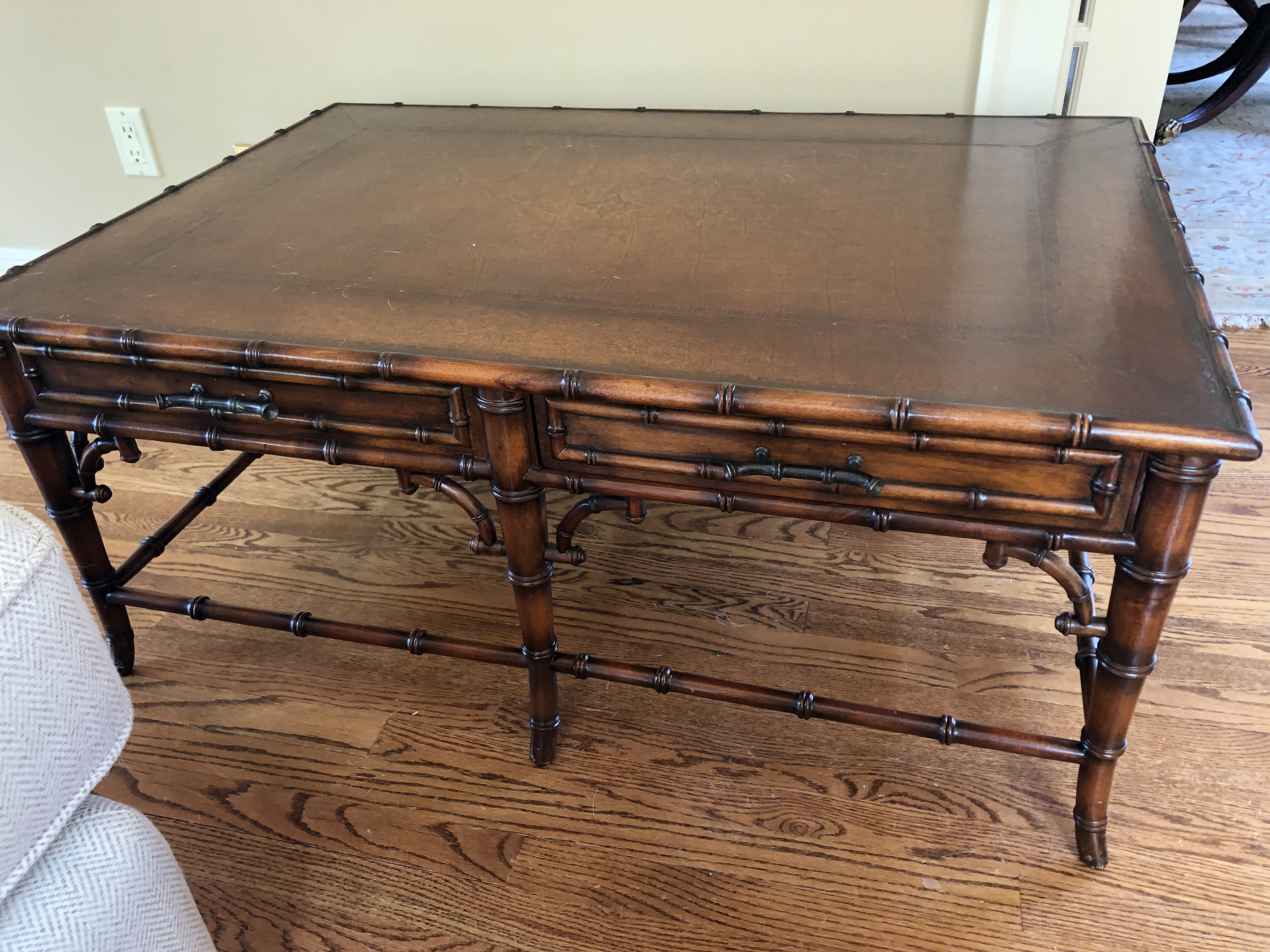 Theodore Alexander Leather Top Coffee Table